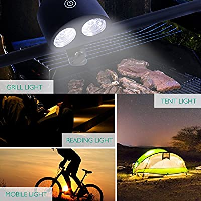 #1 Lightning Barbecue Grill Light 10 Super Bright LED Lights - Weather Resistant - 150 Lumen 360 Degree Rotation - Best LED BBQ Light for Any Gas/Charcoal/Electric Grill, Black