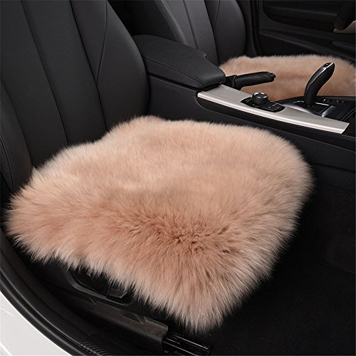 - MOJUN Sheepskin Square Car Interior Seat Cover Natural Fur Wool Soft Warm Non-Slip Car Seat Cushions Universal Fit for Comfort in Auto Car Plane Office Home(2 Front Seats/18 x18, Cameo Brown)