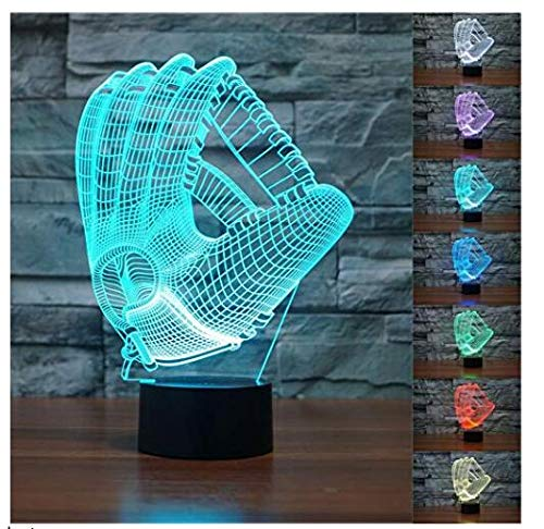 3D Baseball Goves Night Light 7 Color Change LED Table Desk Lamp Acrylic Flat ABS Base USB Charger Home Decoration Toy Brithday Xmas Kid Children ()