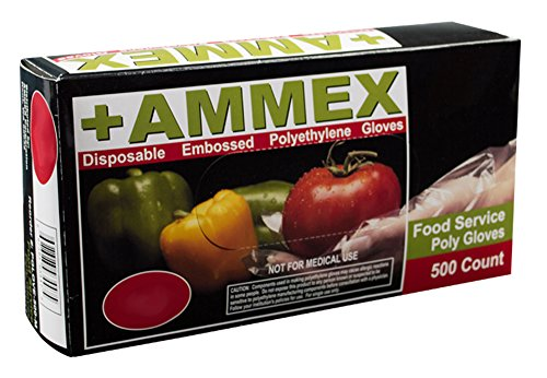 AMMEX - PGLOVE-500 - Poly Gloves - Food Service, Rubber Free, 1 mil, Small, PGLOVE-S-500-CS (Case of 2000)