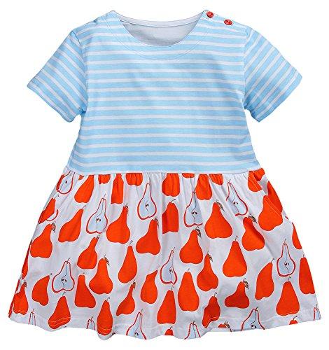 e798e7e025e925 Fiream Girls' Casual Short-Sleeved Striped T-shirt Dress(Blue Red,