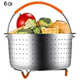GEOTEL FDA Approved Steamer Basket for Instant Pot 6 Quart Instant Pot Accessories, Stainless Steel Steamer Basket with Silicone Handle and Non-Scratch Legs,Great for Steaming Vegetables Eggs(6 QT)