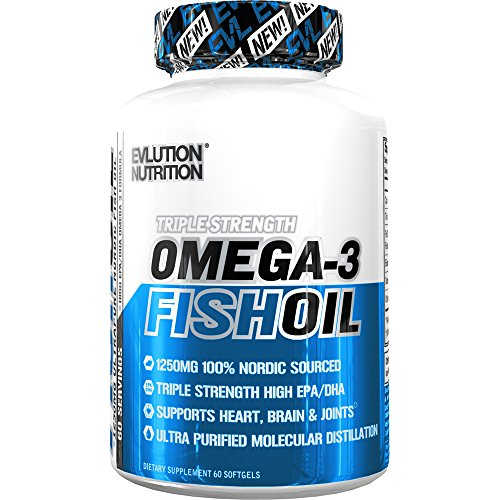Evlution Nutrition Omega 3 Fish Oil 1250mg   HIGH EPA 450mg + DHA 300mg Triple Strength Burpless Capsules (60 (1250 Omega 3)