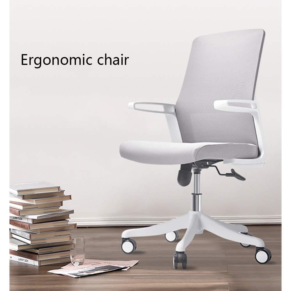 GYH svängbar stol kontorsstol, ryggstöd i ett stycke justerbar roterande datorbord och stol för skrivbord hem arbetsrum kontorsstol (färg: svart) Grått