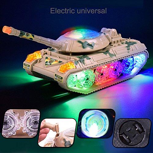 Bekia 3D Music Lighting Tank Automatic Steering Flashing Wheel Sound Racing Toy Gifts