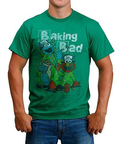 Sesame Street Men's Baking Bad Cookie Monster and Elmo T-Shirt, Kelly Green, Small