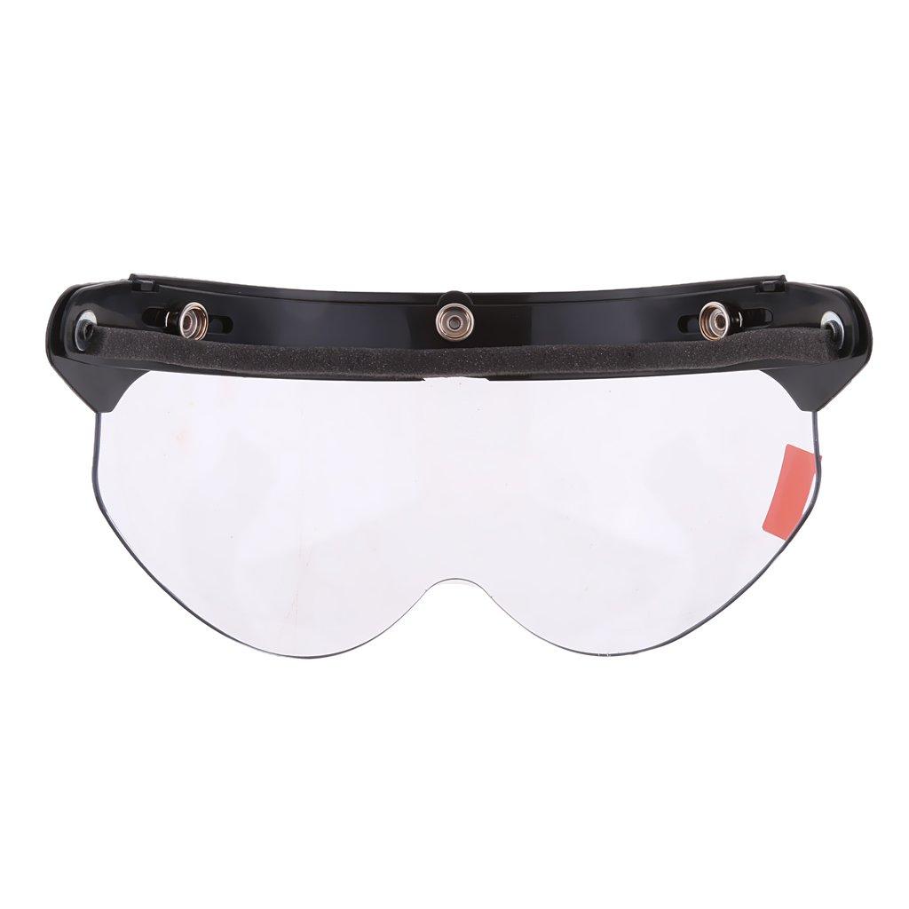 Clair Gazechimp Casque de Moto Flip-Up Visor Shield Style R/étro Anti-UV