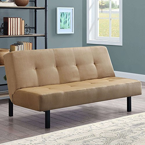 Tan Functional 3-Position Tufted Futon, Padded Cushions, Sturdy Square Metal Legs & Metal Frame, Plush Microfiber Upholstery, Ideal As a Sofa, Lounger & Sleeper, Amazing & Comfortable