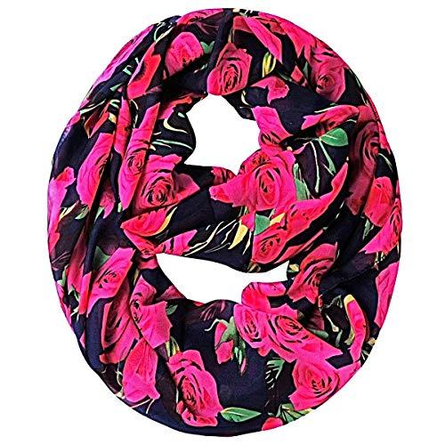 Tapp C. Multicolor Rose Print Infinity Scarf - Pink/Black