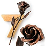 7th Anniversary Gift - Copper Rose + Wooden Wall Hanging