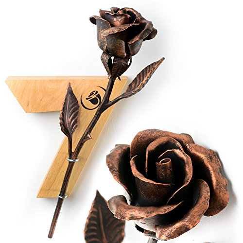 7th Anniversary Gift - Copper Rose + Wooden Wall Hanging by MetalArt (Image #7)