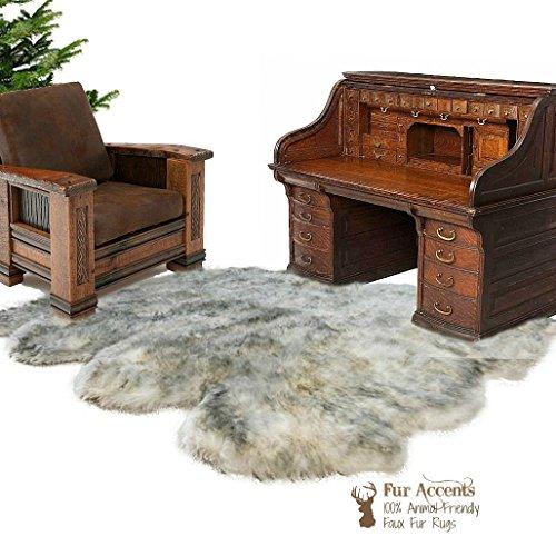 Price comparison product image Premium Faux Fur Gray Wolf Area Rug - Sheepskin Multi Pelt - Bear Skin - White with Gray Tones Fur Accents (8'x10')