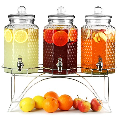 Del Sol Triple Drinks Dispenser with Stand 12ltr | bar@drinkstuff Beverage...