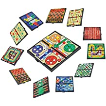 Magnetic Travel Board Games-Road Trip Entertainment, Checkers, Chess, Chinese Checkers, Tic Tac Toe, Backgammon, Snakes And Ladders, Solitaire, Nine Mens Morris, Auto Racing, Ludo, Space Venture