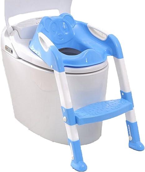Portátil y duradero Taburetes Niños Orinal Asiento Con escalera Inodoro para niños Plegable Ayudas de entrenamiento para ir al baño Silla (Azul1): Amazon.es: Bebé
