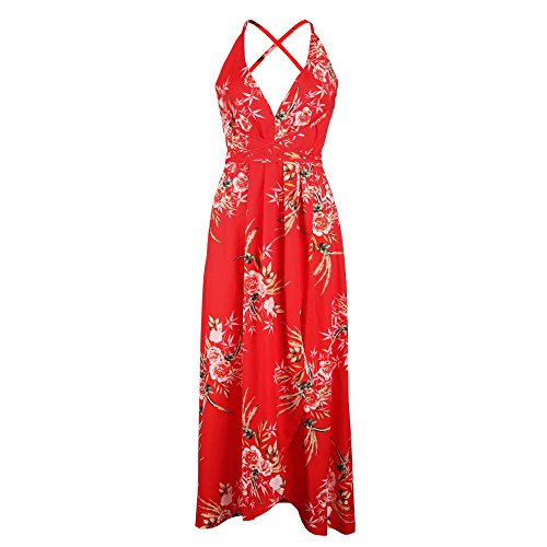 iLUGU V Neck Sleeveless Maxi Dress for Women Floral Print Backless Red Dress