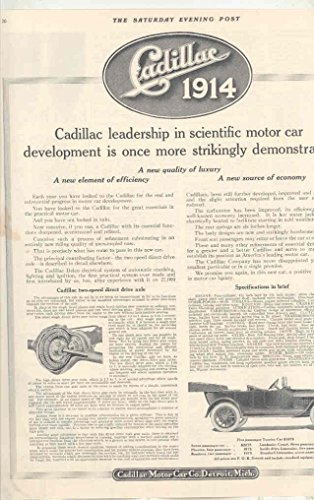 1914 Cadillac Motor Car Co Touring Detroit MI Automobile Magazine - Car Co Touring