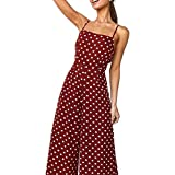 Women's Sexy Sleeveless Backless Jumpsuit Rompers Spaghetti Strap Polka Dot Bowknot Wide Leg Palazzo Pants Summer Casual Beach Playsuits