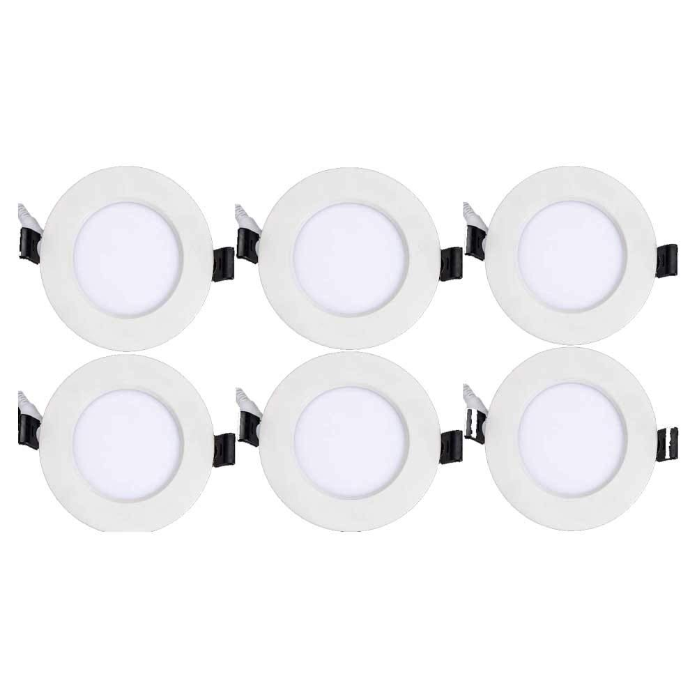 Topaz Lighting (Pack of 6) 77250 12W Slim 6'' Dimmable, Slim Recessed High Lumen, Ceiling Downlight Color Selectable 2700K/3000K/4000K, Easy to Install, Save Time/Money, Energy Efficient LED Lighting