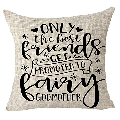 Godmother Heart (FELENIW Only The Best Friends Can Get Promoted to Fairy Godmother Heart Funny Quote Gift to Friends Throw Pillow Cover Cushion Case Cotton Linen Material Decorative 18x18 inches)