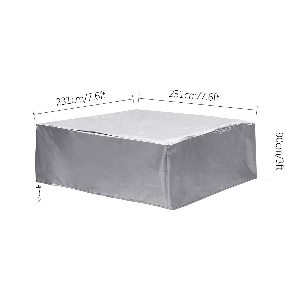 dDanke Rectangular Patio Table /& Chair Set Cover Sun Block Snowproof Windproof Dustproof Furniture Cover Silver 7.2/×7.2/×3ft