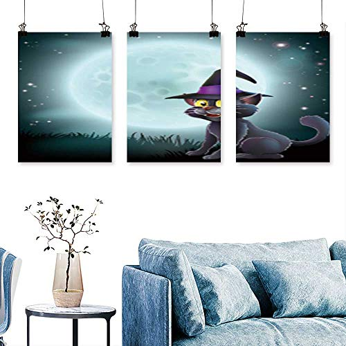 SCOCICI1588 3-Piece Modern of a Halloween Witch cat in a Pointy hat in Front of a Big Full Moon on a Misty Night Print On Canvas No Frame 16 INCH X 40 INCH X 3PCS