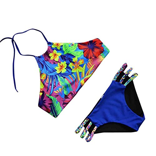 Reinhar Swimwear Push-up Padded Bra Swimsuit Bathing Sexy Women Floral Bikini Set (S, Multicolor 1)]()