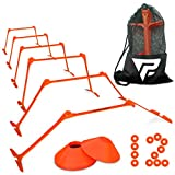 Pro Adjustable Hurdles and Cone Set – 6 Agility Hurdles (6'', 9'' or 12'' Height) with 12 Disc Cones for Soccer, Sports, Plyometric Speed Training – Includes Carry Bag & 2 Agility Drills eBooks (Orange)