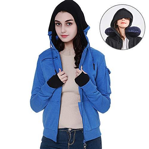 (BOMBAX Women Travel Jacket Hoodie 10 Pocket Flight Bomber Sweatshirt Coat+Pillow (Blue, Large(Asian Size)))