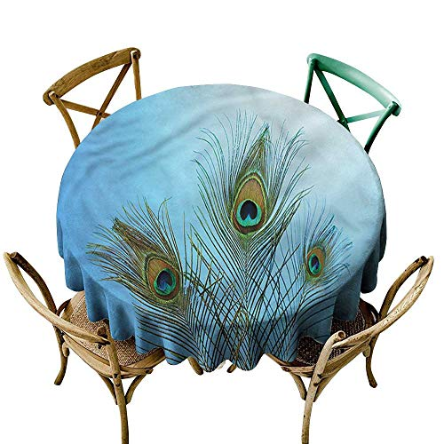 (HeKua Peacock,Table Cloth Round Rich Colorful Plumage Motif D 50