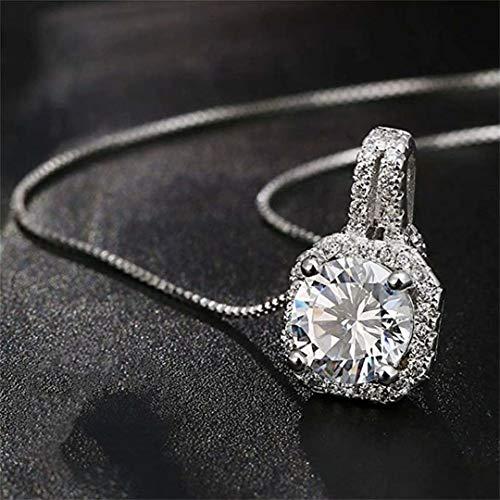 CARDEON Cubic Round Pendant Necklace, CZ Pendant, Dainty, Simple, Minimalist necklace, Bridal Necklace
