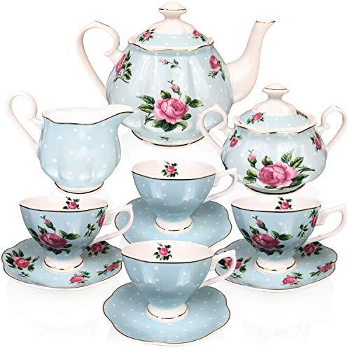 Blue Floral Cup Saucer - BTäT- Floral Tea Set, Tea cups (8oz), Tea Pot (38oz), Creamer and Sugar Set, Gift box, China Tea Set, Tea Service, Tea Cups and Saucer Set, Tea Set for Adults, Tea Cups Set of 4, Porcelain Tea Set