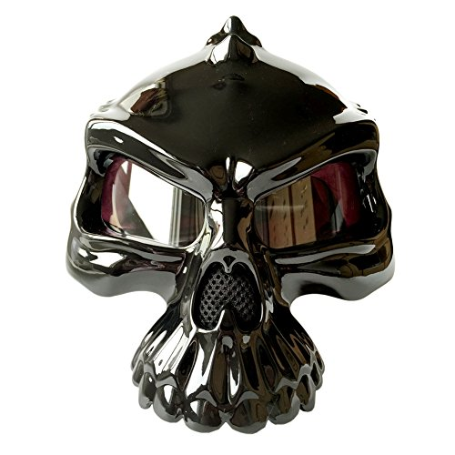 [Motorcycle Bike Scooter Open Face Helmet 3D Skull Skeleton Half Helmets Matte Black White Gold Green Pink [DOT] S M L XL] (Master Chief Suit For Sale)