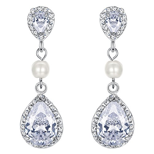 EVER FAITH Bridal Ivory Color Simulated Pearl Drop Earring Clear Zircon Crystal