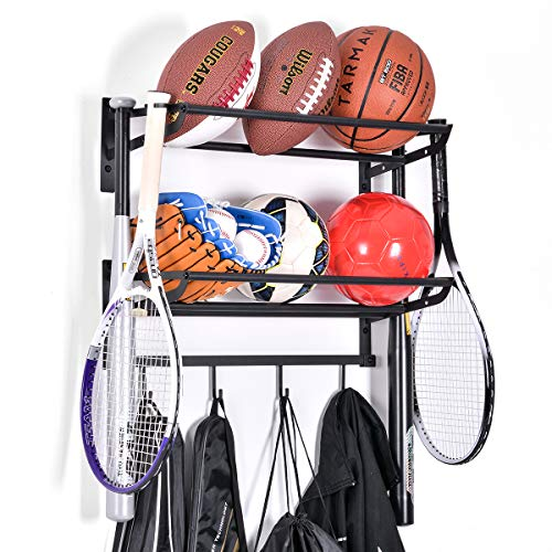 Sports Equipment Storage Rack for Baseball/Basketball/Football/Badminton/Golf/Yoga/Exercise Balls - Four Badminton Tennis Hold-2 Separate Storage Rack- Baseball/Softball Bat Rack/Bat Hooks