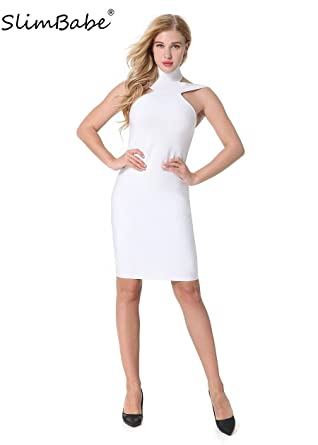 SlimBabe Women Backless Club Vestidos Dress Spaghetti Strap White Party Bandage Dress Rayon Prom Sexy Bodycon