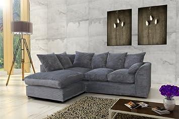 High Quality Porto Jumbo Cord Corner Sofa, Settee, Full Chenille Cord Fabric In Grey ( Grey