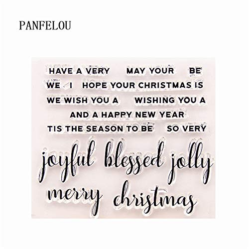 BIG-DEAL/_ joyful blessed Transparent Silicone Rubber Clear Stamps cartoon for Scrapbooking//DIY Christmas wedding album