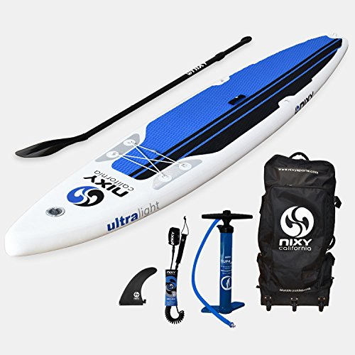 NIXY SUP Touring Inflatable Stand Up Paddle Board Package. Ultra Light 12'6