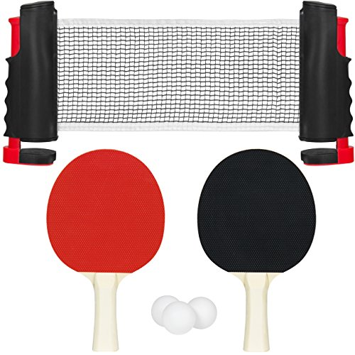 Best Choice Products Portable Ping Pong Table Tennis Game Set w/ Roll-Up Net, 2 Paddles, and 3 Balls - (Set Wide Game Table)
