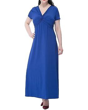 Moollyfox Mujer Talla Grande Vestido Largo Vestido de Cóctel Fiesta Playa Color Sólido Manga Corta Azul