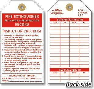 Recharge Fire Extinguisher (Fire Extinguisher Recharge Cardstock Tag Colored Cardstock Inspection Tag, 100 Tags / Pack, 3