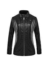 CLIMIX Slim Fit Heated PU Leather Jacket for Women