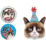 LoonBalloon GRUMPY CAT Kitty Kitten Party Hat Face Happy Birthday Party 3 Mylar Balloons Set