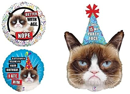 Amazon LoonBalloon GRUMPY CAT Kitty Kitten Party Hat Face Happy