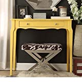 Cheap Modern Cottage Wood Narrow End Sofa Console Accent Table with Storage Drawer – (Yellow)
