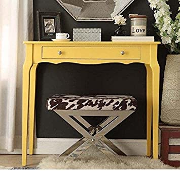 Modern Cottage Wood Narrow End Sofa Console Accent Table with Storage Drawer – Yellow
