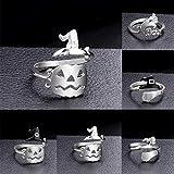wsloftyGYd Adjustable Halloween Pumpkin Ghost Witch Hat Open Finger Ring Women Jewelry