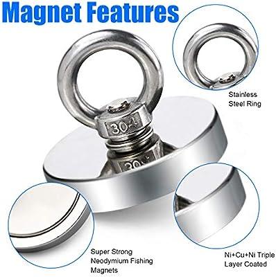 Doppelseitig Neodymium Fishing Magnets Bergemagnet Stark Ösenmagnet 68KG Ø 42mm