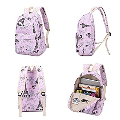 Fanci Eiffel Tower Prints Elementary School Rucksack Backpack for Teenage Girls Canvas Casual Daypack for Women | Kids' Backpacks